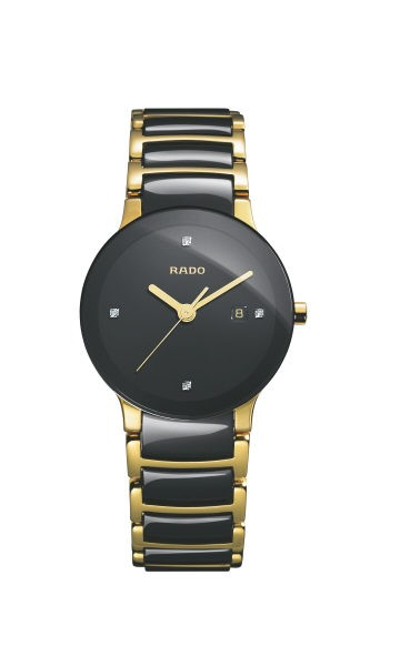 Rado Centrix schwarz mit Diamanten Hightech Keramik