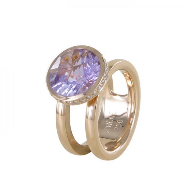 Ring Sonnenfeuer Amethyst mit Diamanten 750/RG