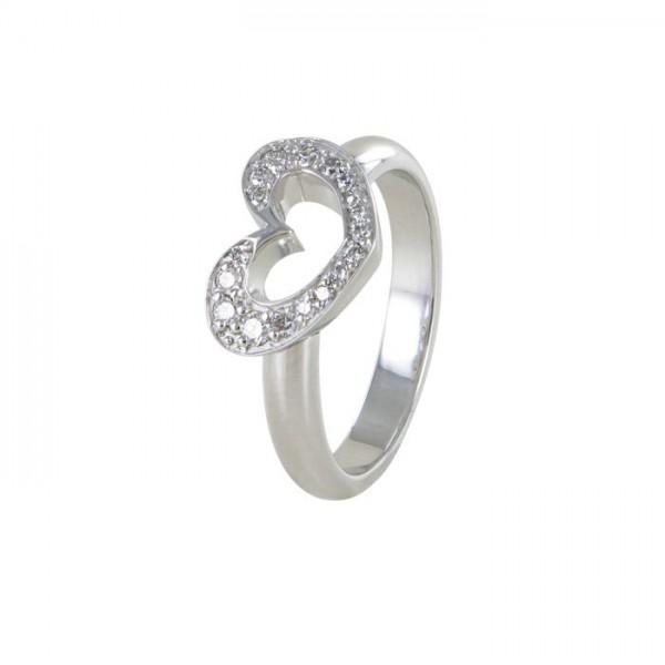 Brillant Ring Weißgold Herz 750/WG