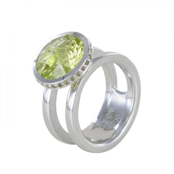 Ring Sonnenfeuer mit Quarz und Safiren 750/WG