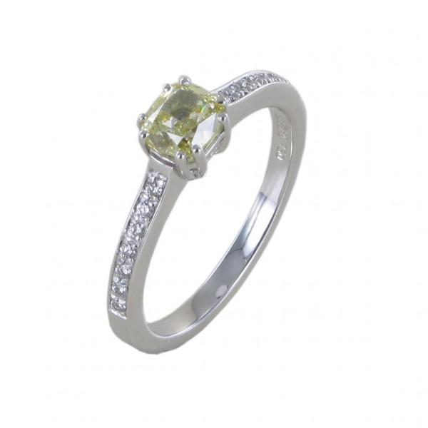 Ring Diamant im Kissenschliff Einzelstüc 750/WG