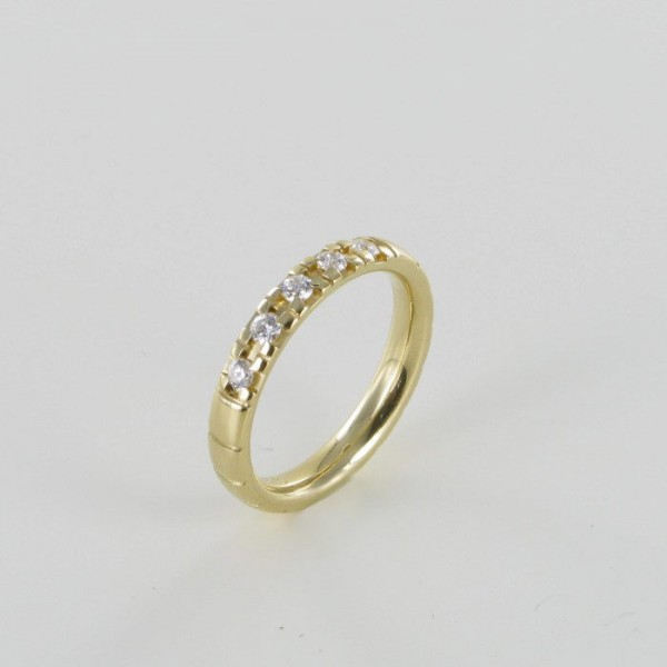 Memoire Ring Gelbgold 5 Brillanten 750/GG