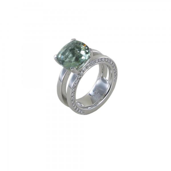 Aquamarin Ring 750/WG