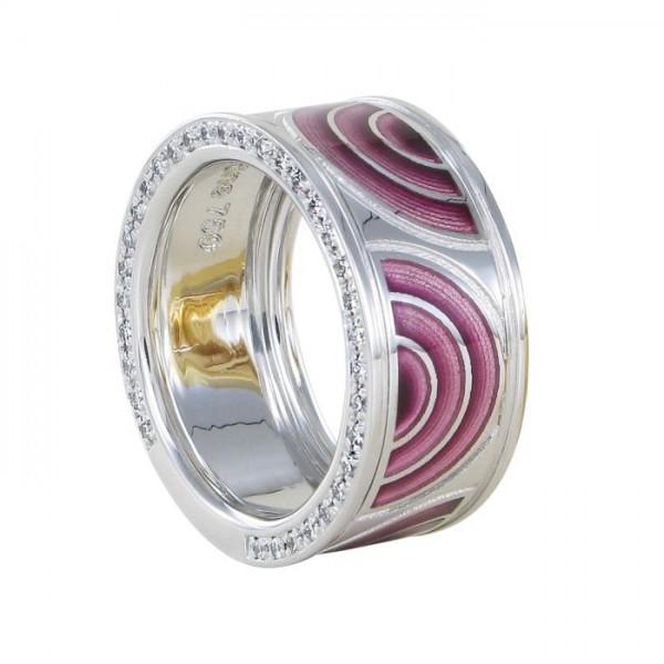 Ring Nightfever Weißgold Email 750/WG