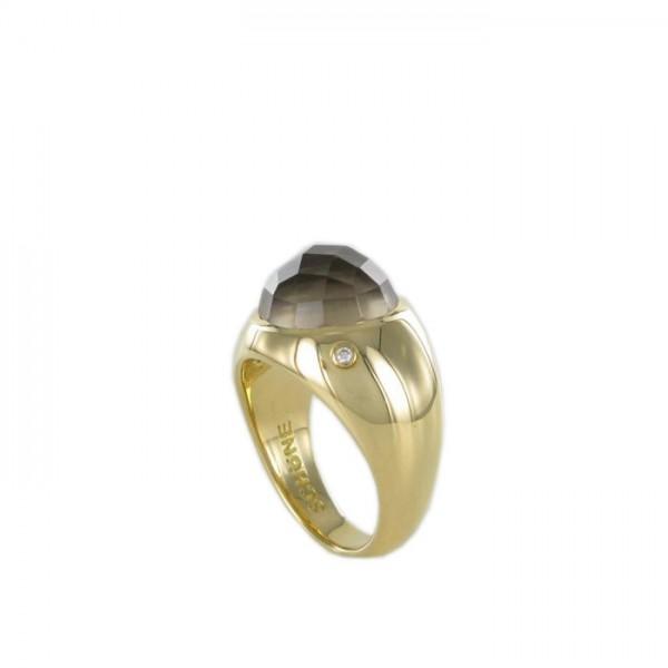 Ring Rauchquarz im Rosenschliff 750/GG