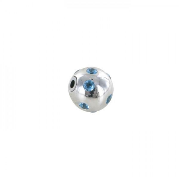 Kugel für Collier Weißgold Blautopas 750/WG