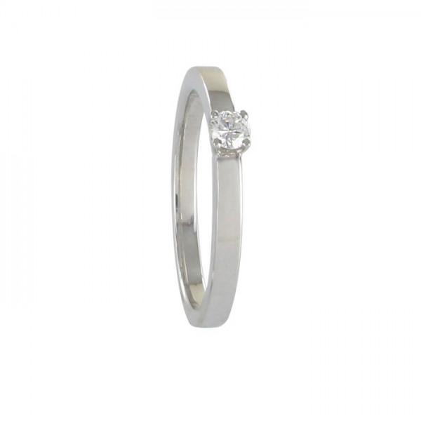 Solitär Brillant Ring Weißgold 750/WG
