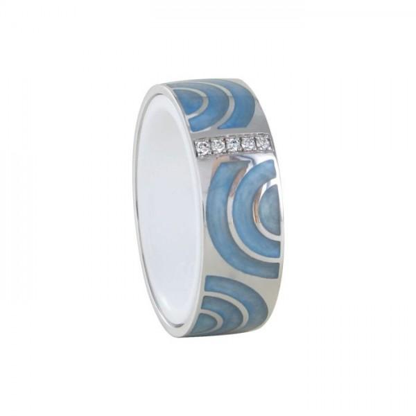 Ring Nightfever light marmor blau 750/WG