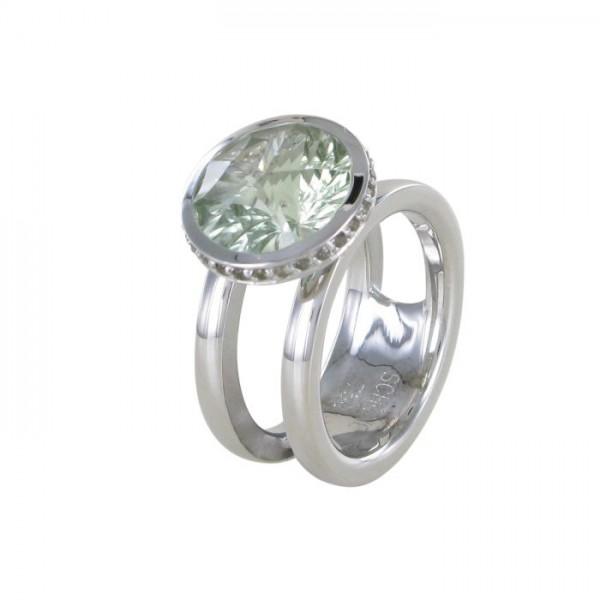 Ring Sonnenfeuer mit Amethyst und Safir 750/WG